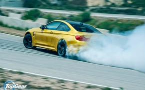 Picture BMW, Top Gear, Car, Yellow, Smoke, Sport, Track, Rear, Skid, Drifting