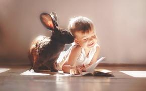 Picture smile, mood, boy, rabbit, friends, owner, ear