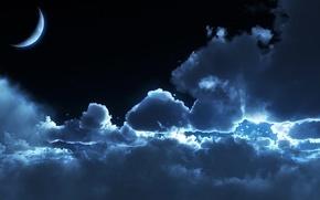 Wallpaper moonlight, night, moonrise, clouds
