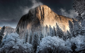 Picture the sky, snow, rock, mountain