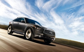 Picture road, the sky, clouds, lights, wheel, emblem, infiniti, SUV, hatchback, Sport Utility Vehicle, FX35