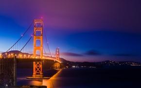 Picture the sky, night, bridge, lights, lighting, backlight, CA, San Francisco, Golden Gate, USA, USA, Golden …