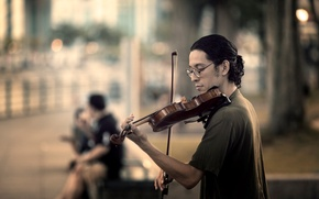 Wallpaper music, street, violin