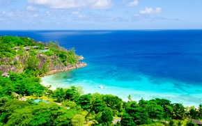 Picture sea, trees, landscape, nature, tropics, boat, trees, sea, landscape, nature, boat, tropics