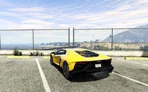 Picture the sky, asphalt, yellow, the fence, Lamborghini, back, Parking, Aventador, 2013, GTA 5, LP720-4