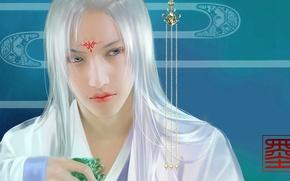 Picture tattoo, art, decoration, guy, jade, suspension, Asian, feimo