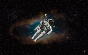Picture space, nebula, skull, stars, astronaut