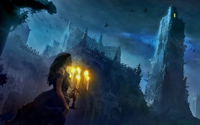 Picture birds, castle, Girl, candles, dress, twilight