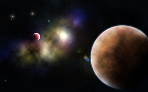 Picture space, nebula, planet, space