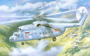 Picture aviation, art, helicopter, multipurpose, Soviet, heavy, Mi-6
