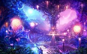 Picture landscape, night, bridge, the city, lights, tree, magic, the moon, sword, warrior, sphere, tera online
