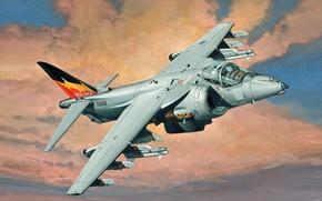 Picture art, painting, jet, BAe Harrier Gr.9