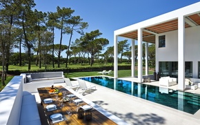 Picture house, table, interior, pool, sofas, sun loungers, exterior