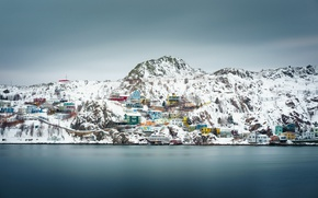 Picture Canada, winter, snow, houses, cloudy, Newfoundland and Labrador, St. John's