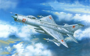 Picture the sky, figure, fighter, art, OKB, multipurpose, Soviet, Mikoyan and Gurevich, MiG-21F