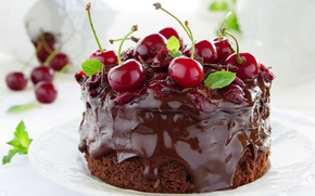 Picture cake, cream, food, cake, dessert, dessert, sweet, chocolate, cherries, cherry, cream, chocolate, cake, food