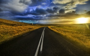 Picture the sun, clouds, Road