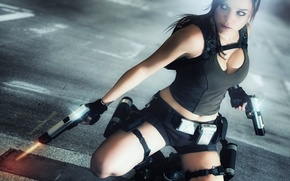 Picture look, girl, face, weapons, hair, guns, the game, Mike, backpack, Lara Croft, Tomb raider, Charly ...