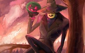 Picture monster, hat, watermelon, art, Gravity Falls, Zapekanka's, Jack-o'-melons, Summerween