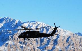 "Wallpaper UH-60 Black Hawk, snow, mountains, ""Black hawk down"", tops, American, Sikorsky UH-60 ""black hawk"", multi-purpose ..."