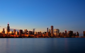 Picture city, lights, USA, Chicago, Illinois, sky, sunset, water, lake, evening, buildings, skyscrapers, cityscape, United States …