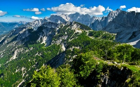 Picture summer, the sky, clouds, snow, landscape, mountains, nature, rocks, slope