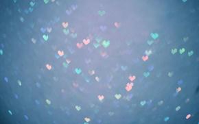 Picture colored, hearts, bokeh