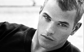 Wallpaper handsome guy Kellan, Blonde, black and white photo