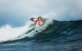 Wallpaper girl, sport, wave, surfing, Laura Enever, serfish