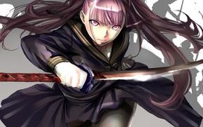 Picture katana, blade, form, Schoolgirl, sailor, jerk