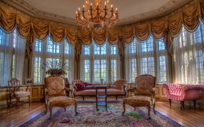 Picture table, sofa, carpet, Windows, bouquet, chair, curtains, living room, sunlight, chandeliers