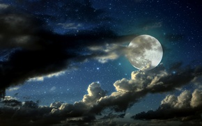 Picture stars, clouds, night, the moon, moon, night, clouds, stars, moonlight