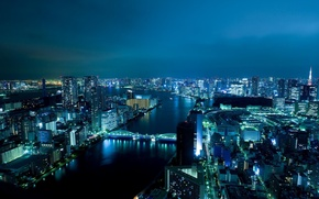 Wallpaper lights, bridge, night, building, river, Japan