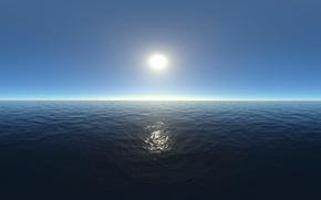 Picture sea, the sky, the sun, reflection, ruffle, horizon, space, haze