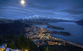 Picture sea, the sky, clouds, mountains, night, the city, lights, The moon