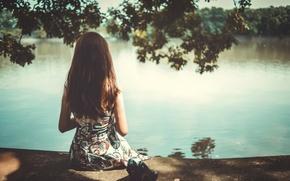 Wallpaper girl, pond, hair, back, sitting