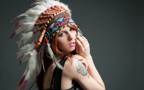 Picture look, girl, face, background, feathers, tattoo, headdress