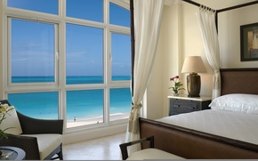 Wallpaper Room, window, the ocean, chair, bed, beach