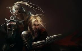 Picture art, Anime, guy, brothers, Anime, Fullmetal alchemist, armor, Fullmetal Alchemist, Edward Elric, Alphonse Elric, leopinheiro