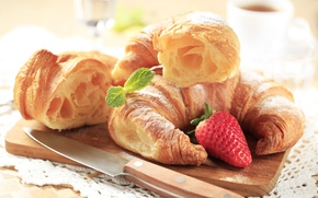 Picture Breakfast, strawberry, cakes, strawberry, croissants, growing, breakfast