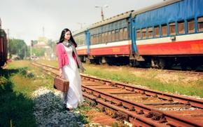 Picture girl, train, railroad, East