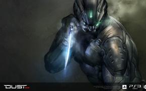 Picture glow, warrior, dagger, armor, dust, concept art