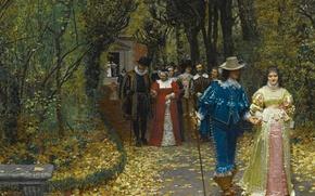 Picture autumn, pair, walk, Marie-Francois Firmin-Girard
