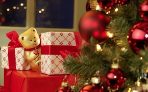 Picture toys, tree, new year, chocolate, bear, gifts