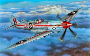 """Picture war, art, airplane, painting, aviation, Supermarine Spitfire F Mk.21 """"Contraprop"""""""