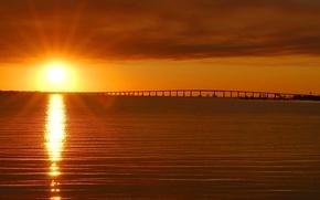 Picture sea, the sky, the sun, clouds, rays, sunset, bridge