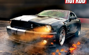 Wallpaper Fire, Lights, Smoke, Mustang Shelby GT500, Ford