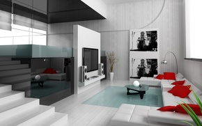 Wallpaper picture, reflection, apartment, Interior, TV, pillow, Design, modern