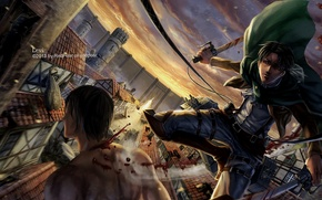 Picture the city, anime, art, guy, the invasion of the giants, attack of the titans, Shingeki …