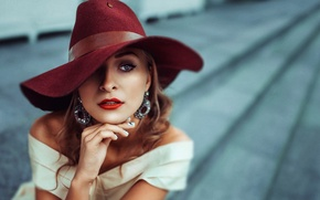 Wallpaper portrait, hat, style, bokeh, burgundy has